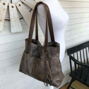 Handbags - Metallic Bronze BoHo Shoulder Bag